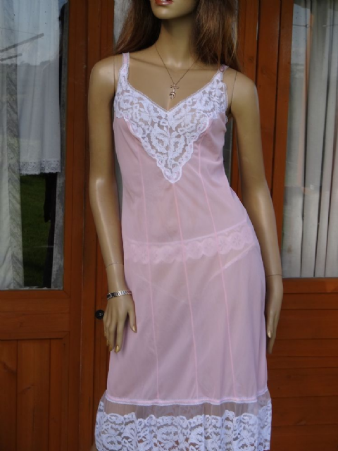 "AUTHENTIC VINTAGE 1960'S PINK SEE THRU SILKY NYLON FULL SLIP GORGEOUS 5"" HEM   2 SIZES:-36 & 38"